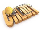 Credit concept. Coin and mousetrap — Stock Photo