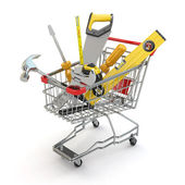 E-commerce. Tools and shopping cart — Stock Photo