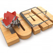 Stock Photo: Concept of loan. House and mousetrap.