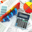 Stock Photo: Business concept. Cslculator graph and charts. 3d