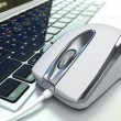 Computer mouse on laptop keyboard. 3d — Stock Photo