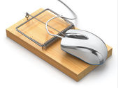 Concept of internet security. Computer mouse and mousetrap. — Stock Photo