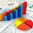 Stock Photo: Business concept. Three-dimensional graph and charts.