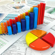 Business concept. Three-dimensional graph and charts. — Stock Photo