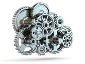 Perpetuum mobile. Iron gears on white isolated background. — Stock Photo