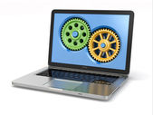 System properties concept. Laptop and gears. — Stock Photo