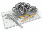 Engineering drawing. Gear, trammel, pencil and draft. — Stock Photo
