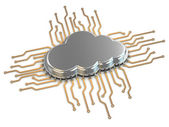 Processor or chip on white background. Cloud computing. — Stock Photo