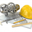 Stock Photo: Engineering drawing. Gear, hardhat, pencil and draft.