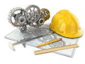 Engineering drawing. Gear, hardhat, pencil and draft. — Stock Photo