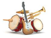 Музыкальные инструменты. гитара, барабаны и трубы. — Стоковое фото