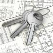 Key on house plan blueprint. 3d — Stock Photo
