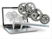 Computer-design engineering. Laptop, gear, trammel and draft. — Stock Photo