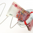 Financial aid. Life preserver and yuan. — Stock Photo #31845001