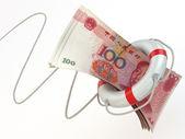 Financial aid. Life preserver and yuan. — Stock Photo