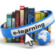 E-learning. Books and earth on white background. — Stock Photo