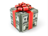 Money gift. Pack of dollars and red ribbon. — Stock Photo