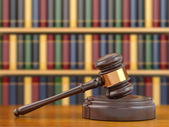 Concept of justice. Gavel and law books. — Stock Photo