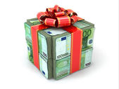 Money gift. Pack of euros and red ribbon. — Stock Photo