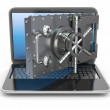 Internet security.Laptop and opening safe deposit box's door. — Stock Photo