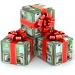 Money gift. Packs of dollars and euro and red ribbon. — Stock Photo