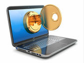 Internet security concept. Key and laptop. — Stock Photo