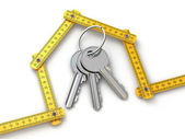 House from yardstick and bunch of keys. — Foto Stock