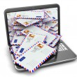 E-mail concept. Laptop and letters — Stock Photo