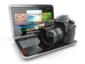 Digital photo camera and laptop. Journalist or traveler equipm — Stock Photo
