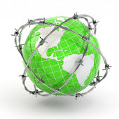 Earth and barbed wire. Conceptual image. — Stock Photo