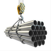 Crane hook and pipes. 3d — Stock Photo