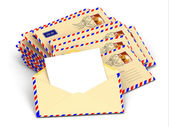 Mail. Stack of envelopes and empty letters. — Stock Photo