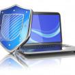 Internet security concept. Laptop and shield. — Stock Photo