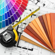 Photo: Interior design. Architectural materials tools and blueprints