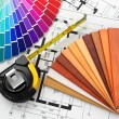 Stock Photo: Interior design. Architectural materials tools and blueprints