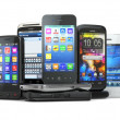 Choose mobile phone. Pile of new cellphones. — Stock Photo #35067073