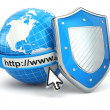 Internet security. Earth, browser address line and shield. — Стоковая фотография