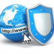 Internet security. Earth, browser address line and shield. — Stock Photo