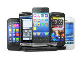 Choose mobile phone. Pile of new cellphones. — Stock Photo