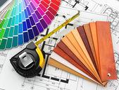 Design d'intérieur. plans et outils matériaux architecturaux — Photo