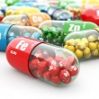 Stock Photo: Dietary supplements. Variety pills. Vitamin capsules.