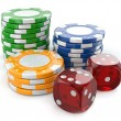 Gambling casino. Dice and chips. — Stock Photo