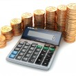 Financial concept. Calculator and gold coins. — Stock Photo