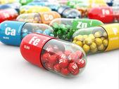 Dietary supplements. Variety pills. Vitamin capsules. — Stock Photo