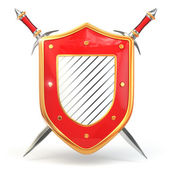 Shield and sword. Security concept. 3d — Stock Photo
