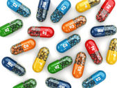 Dietary supplements. Variety pills. Vitamin capsules. — Stock Photo