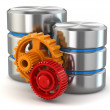 Stock Photo: Storage administration concept. Database symbol and gears.