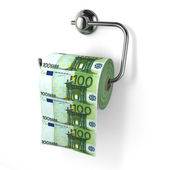 Euro devaluation. Money as toilet paper — Stock Photo