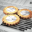 Euro coins as gear on business graph. Financial concept. — Stock Photo