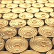 Food tin cans. Groceries background. — Stock Photo